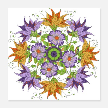 Flowers mandala with abstract flowers - Poster