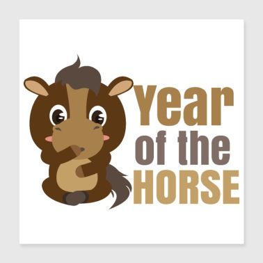Year Of Birth Chinese zodiac year of the horse - Poster 40x40 cm