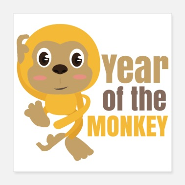 Year Of Birth Chinese zodiac year of the monkey - Poster 40x40 cm