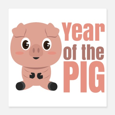 Chinese Chinese zodiac year of the pig - Poster 40x40 cm