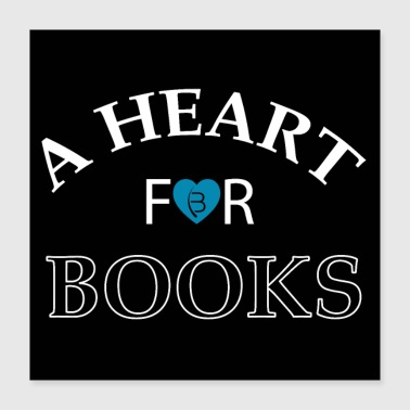 Buch A heart for books - Poster - Black - 2 - Poster 40x40 cm