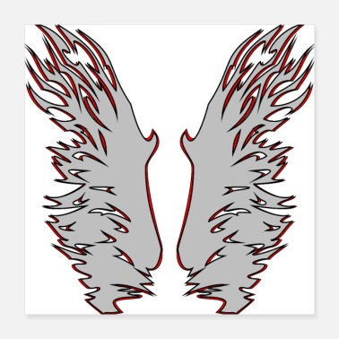 Stylish Wing Edition 3 in silver / red - Poster 40x40 cm