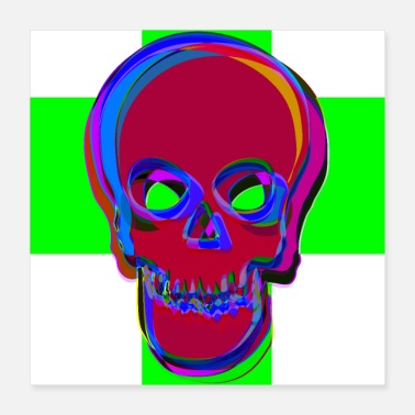 Undead Skull Halloween Green Red - Poster 40x40 cm