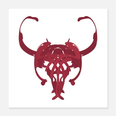 Image Bull, ink image, Diablo, cow - Poster 40x40 cm