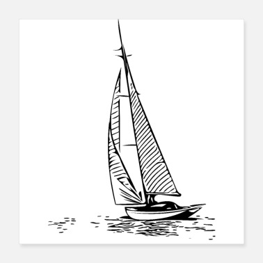 Cruise sailboat - Poster 40x40 cm