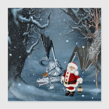 December Merry Christmas with cute Santa and dragon of gall - Poster 40x40 cm