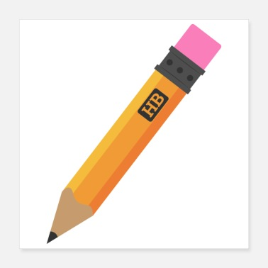 Pen Flat Design - My favorite pen HB pencil - Poster 40x40 cm