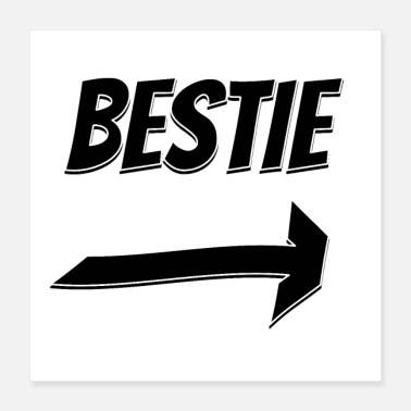 Arrow Bestie lettering arrow to the left - Poster 40x40 cm