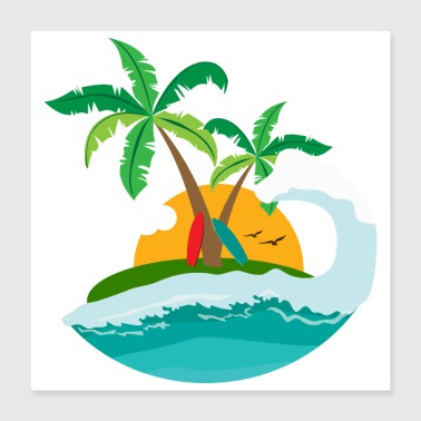 Palm Trees Surfing - Sunset Beach Palm tree and wave - Poster 40x40 cm