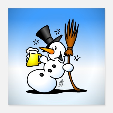 Snowman Snowman with a beer - Poster 40x40 cm