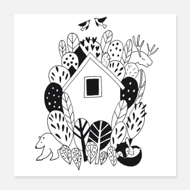 Outdoor Cozy cottage and outdoor life with animals in the forest gift - Poster 40x40 cm
