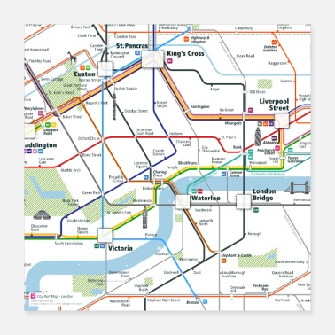 Undergrund London Map Square - Poster