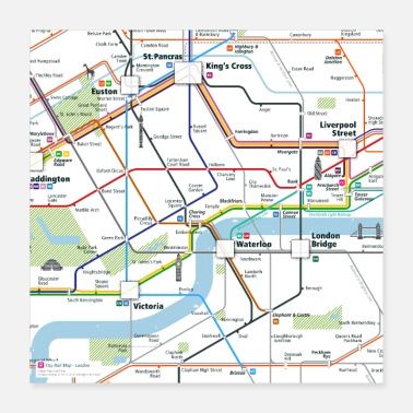 London London Map Square - Poster