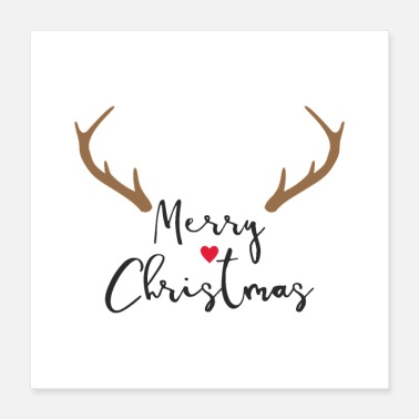 Nose Merry Christmas antlers heart red nose gift - Poster 40x40 cm