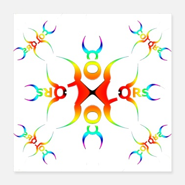 Bright Abstract design - bright, bold colors - Poster 40x40 cm