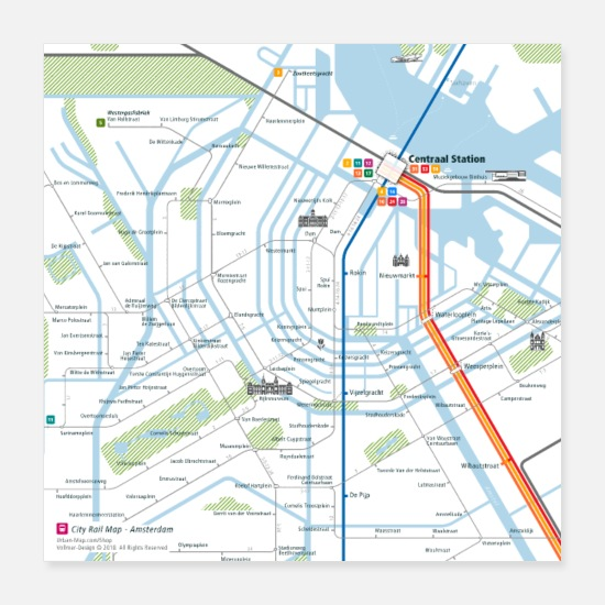 Travel Posters - Amsterdam Map Square - Posters white