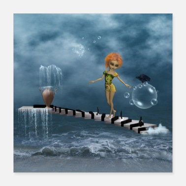 Piano Cute fairy on a piano - Poster 40x40 cm