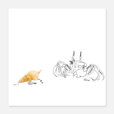 Crab Monday at the beach - Poster 40x40 cm