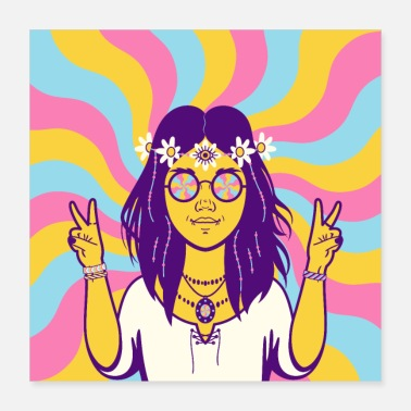 Girls Hippy Girl Hippie Vintage Retro Flower Psychedelic - Poster