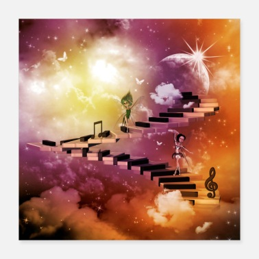 Note Clue Music, cute fairies dancing on a piano - Poster