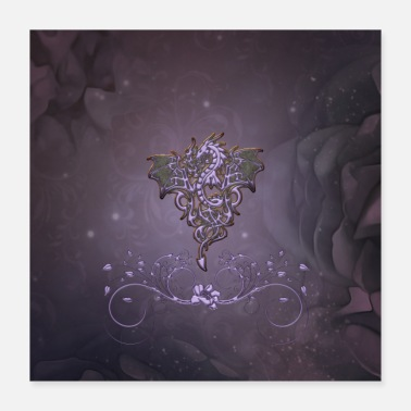 Element Awesome dragon with floral elements. - Poster 40x40 cm