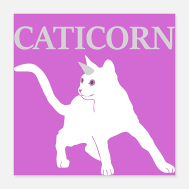 Bday Caticorn Cat Gift Licorne Chat Chat Siamois À Poil Court - Poster 40 x 40 cm