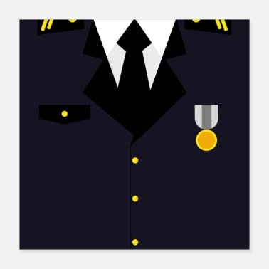 Military Dark blue military uniform with medal - idea - Poster 40x40 cm