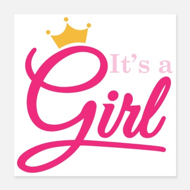 Pregnancy Pregnancy girl crown baby idea gift - Poster 40x40 cm
