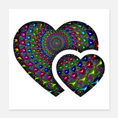 Day Fractal Heart of Valentine s Day - Poster 40 x 40 cm