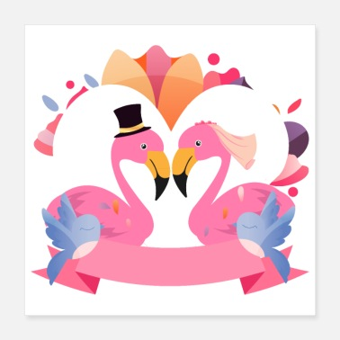 Bryllupsfest Flamingo - Pink Flamingos Wedding Birds Gift - Poster
