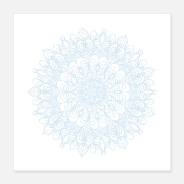 Buddhism Mandala Drawing Circle Spiral Flowers Line Art - Poster 40x40 cm