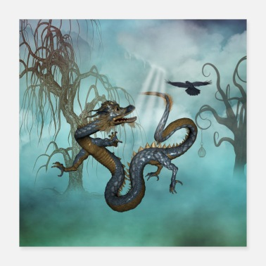 Asian Awesome asian dragon with flying crow - Poster