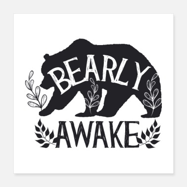 Student Bearly Awake Bear Funny Sleep Gift voor student - Poster