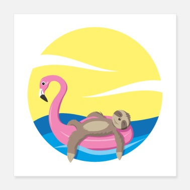 Lui Sloth Flamingo Summer Beach Vacation Poster - Poster