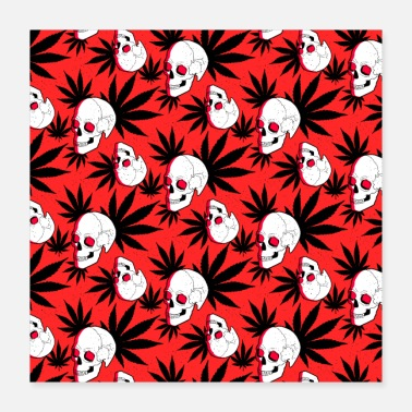 Cannabis Skull skull cannabis grass red pattern - Poster