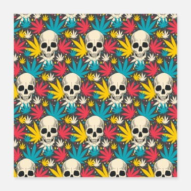 Pattern Skull skull cannabis grass colorful pattern - Poster