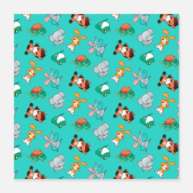 Pattern Cute animals for kids bunny elephant horse pattern - Poster
