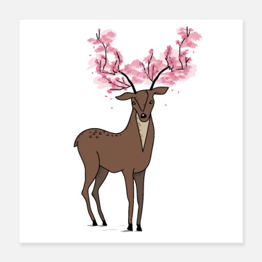 Indie Sakura deer - body art design - Poster
