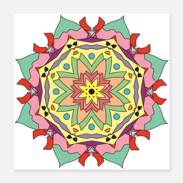 Colour colourful mandala 1 - Poster