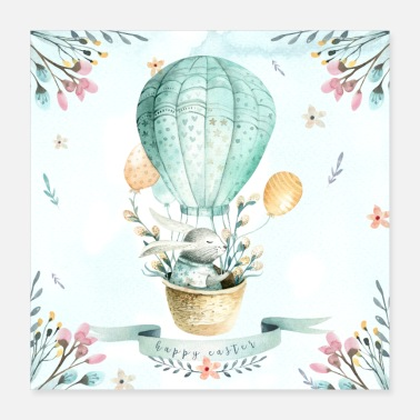 Happy Easter - bunny in a hot air balloon - Poster