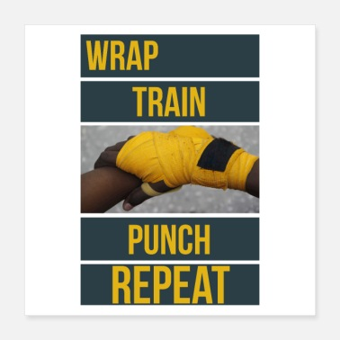 Punch Boxningsträning Boxercitationstecken Wrap Train Punch - Poster