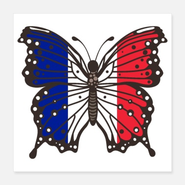 French Butterfly France Tricolor flag - Poster