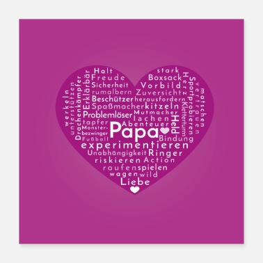 Papa coeur mûre avec lettres blanches - Poster