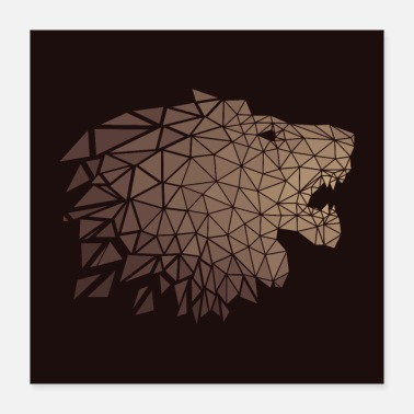 Lion Löwe Origami Polygon - Poster