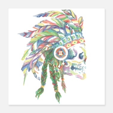 Mohawk Indian head watercolor poster - Poster