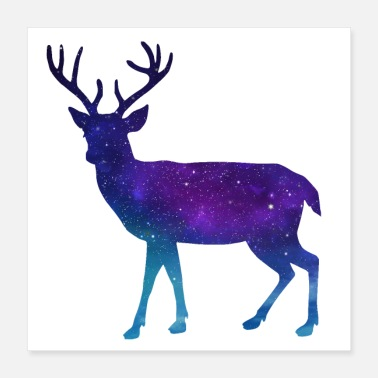 Rudolph Deer elk wild animal africa reindeer star night - Poster