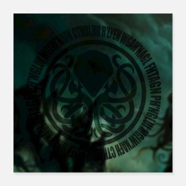 Rlyeh Cthulhu Incantation Circle Poster Green - Poster