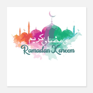 Mosque Colorful Ramadan Kareem with mosques - Poster