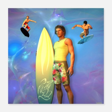 Installation SURFER EN INSTALLATION AVEC SA TABLE - Poster