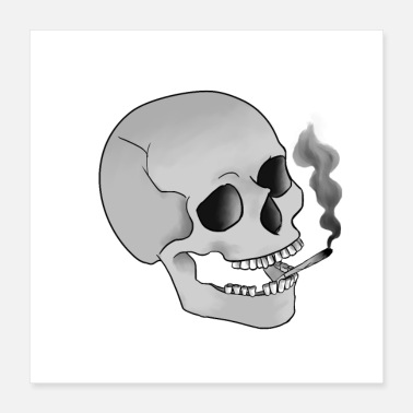 Cigarette Skull with cigarette - Poster